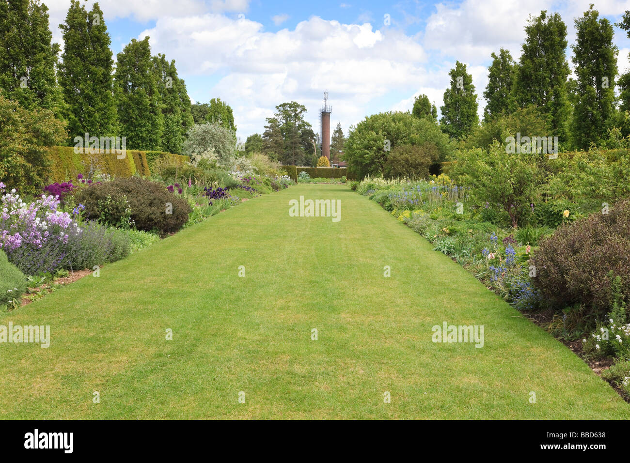 Long Border At Broadview Gardens Hadlow College, Kent UK