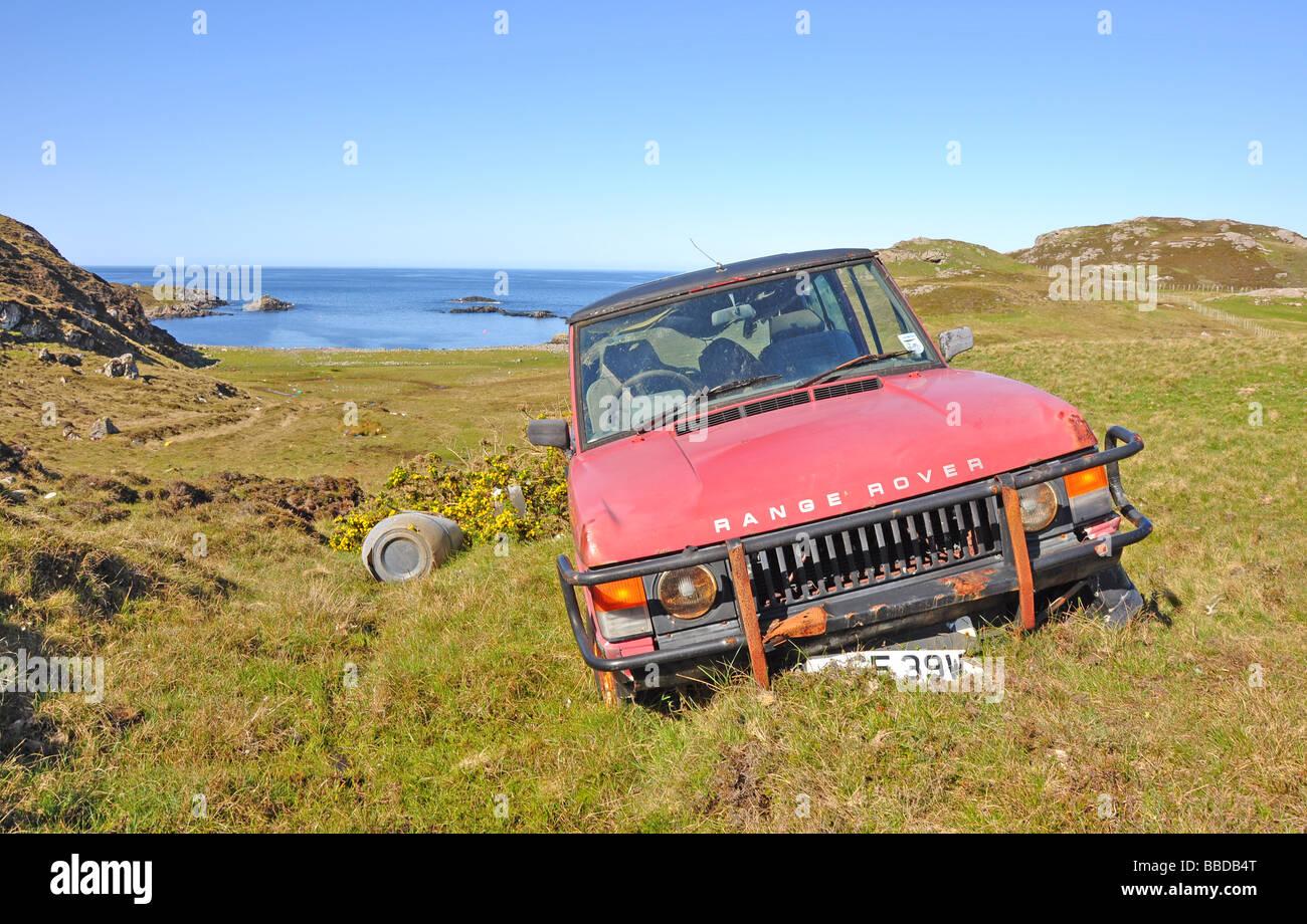 abandoned car on the west coast of scotland