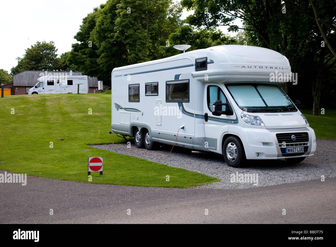 Large modern motorhomes on Caravan Club site Tredegar House Newport South  Wales UK