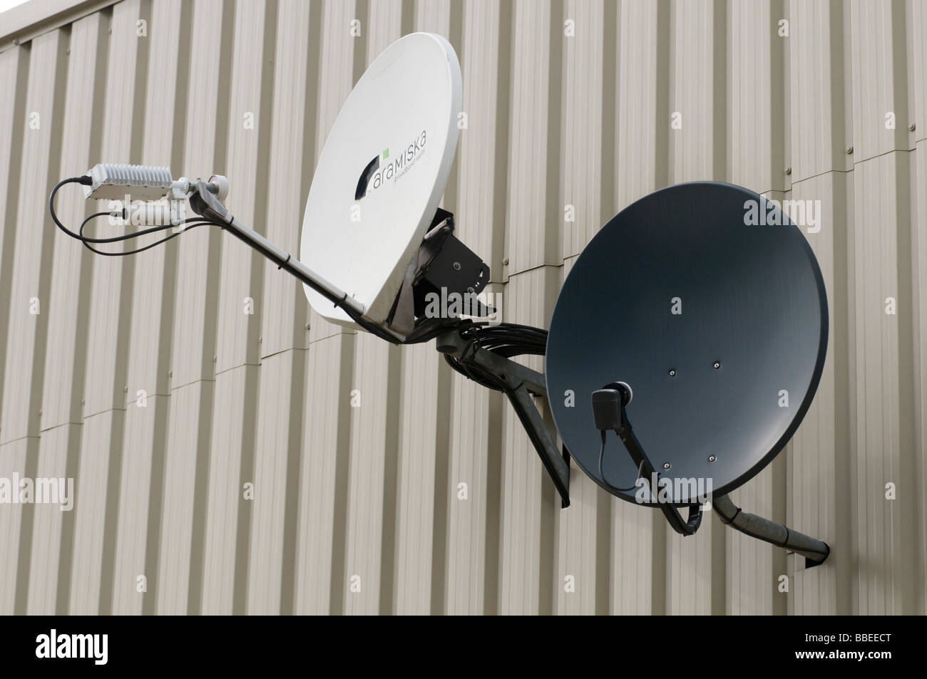 satellite dish receiver receiving lmb sky reception tv television stock photo royalty free. Black Bedroom Furniture Sets. Home Design Ideas