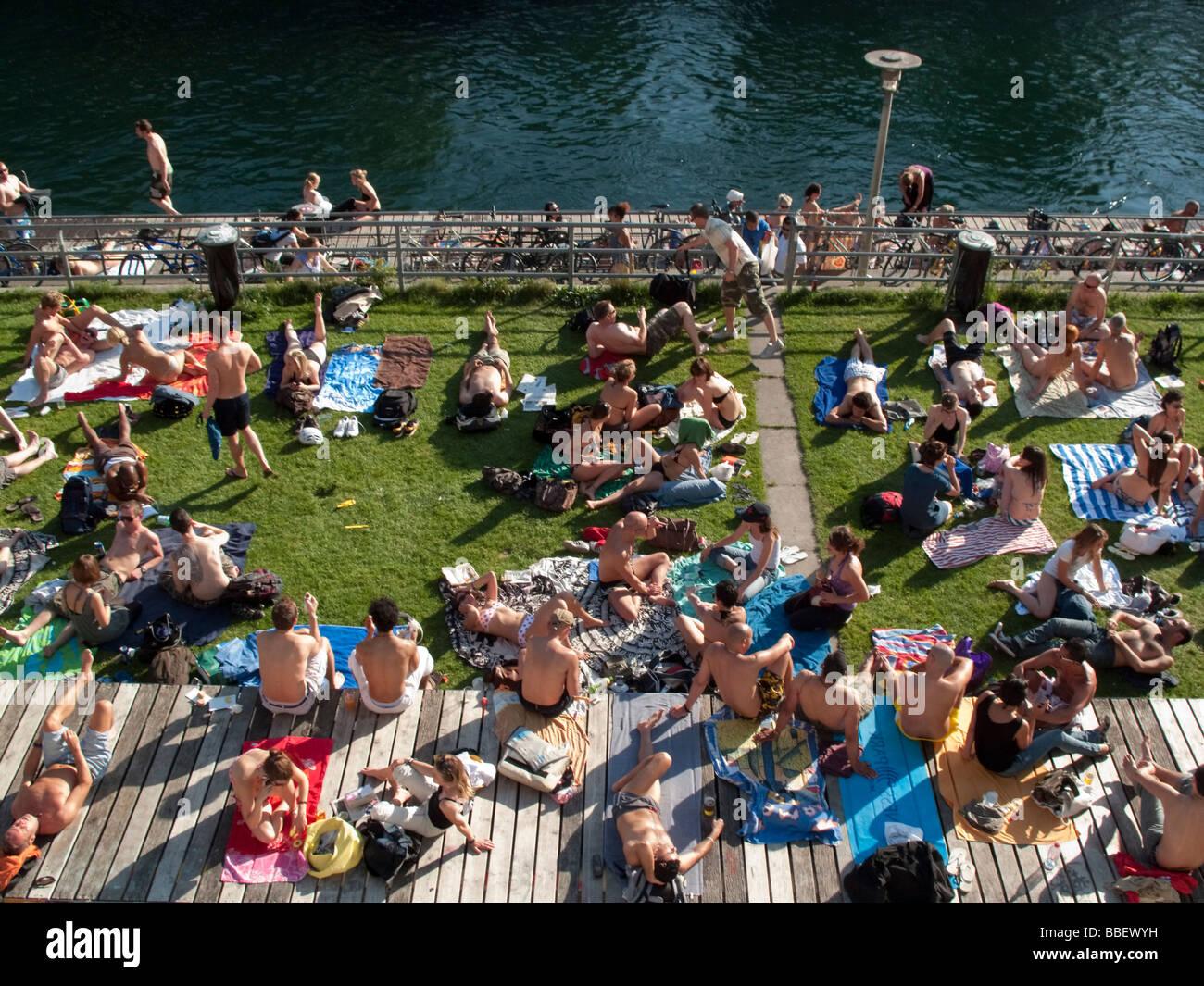 Open air bath Letten at river Limmat people sunbathing Zurich Switzerland    Stock Image. Open Air Bath Stock Photos   Open Air Bath Stock Images   Alamy
