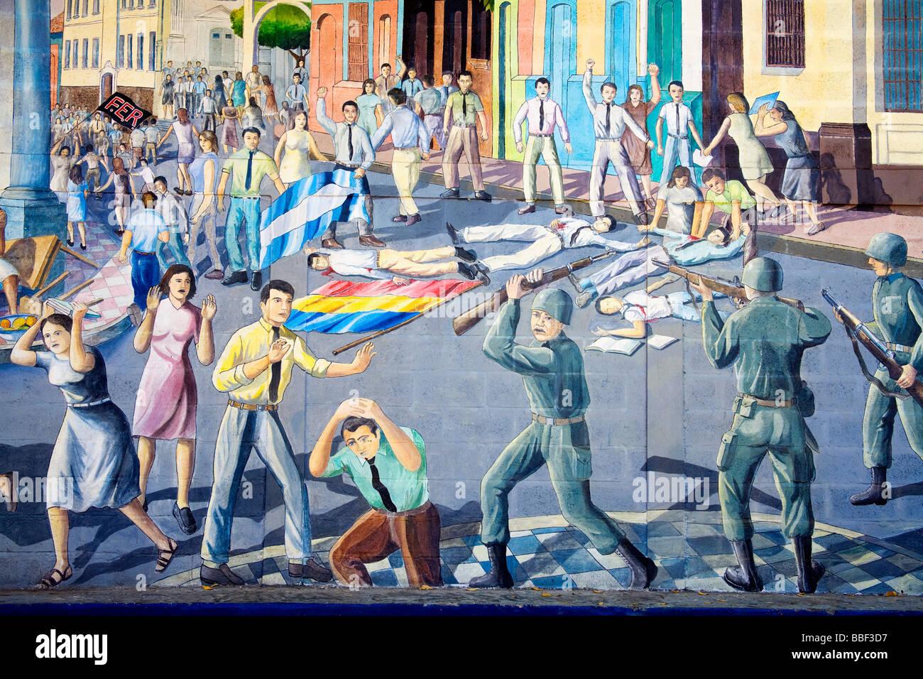 Leon nicaragua central america civil war mural stock for Mural nicaraguense