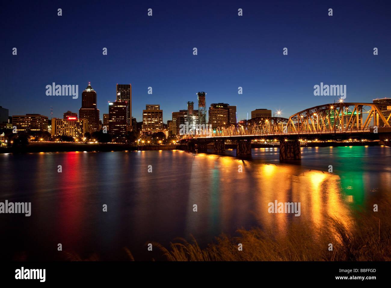 downtown portland oregon at night usa stock photo royalty