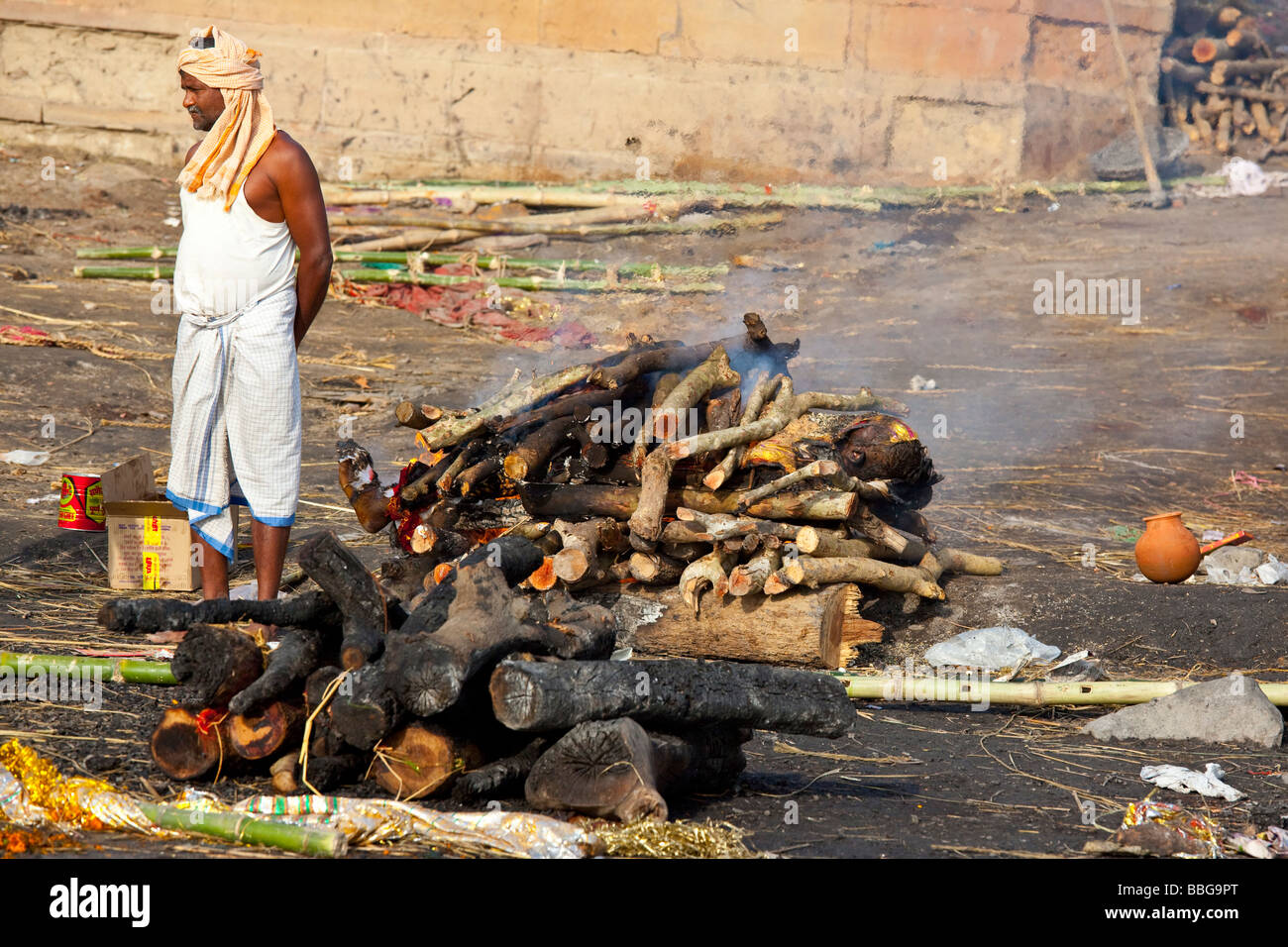 Hindu Body Burning on the Ghat in Varanasi India Stock ...