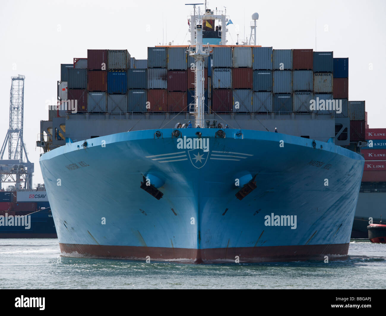 large container ship maersk kiel seen from the front