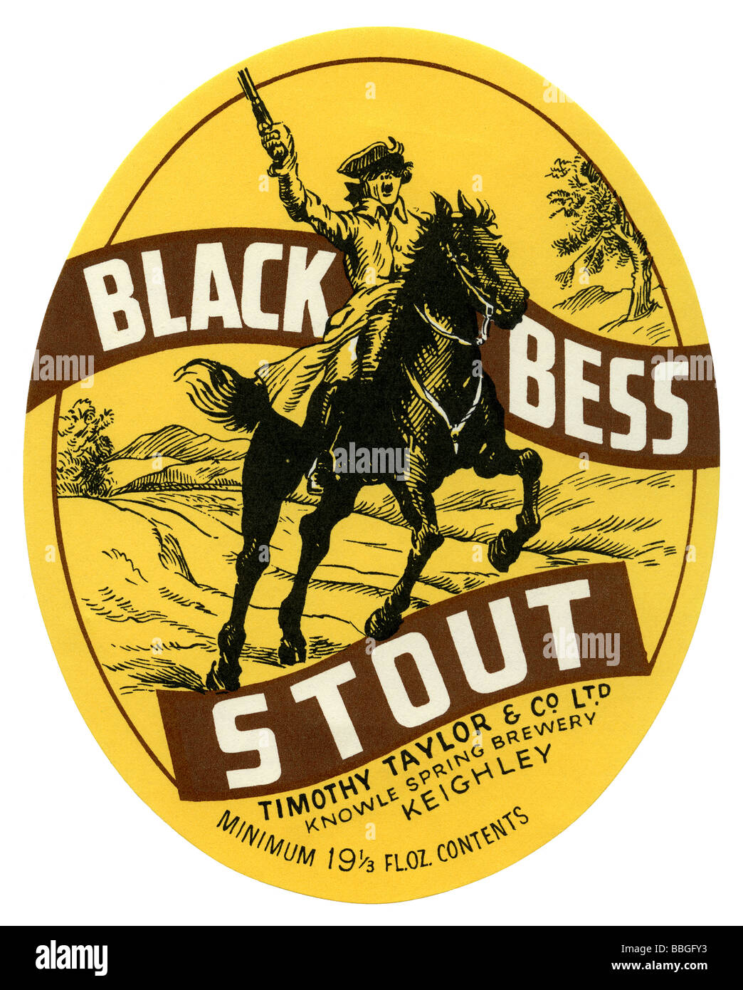Old British beer label for Timothy Taylors Black Bess Stout – Beer Label