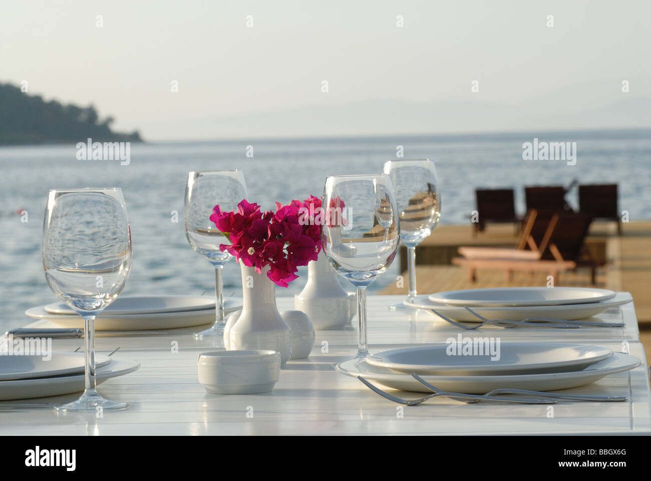 Fancy restaurant table setting - Stock Photo Dinner Table And Nice Place Setting At The Beach Restaurant