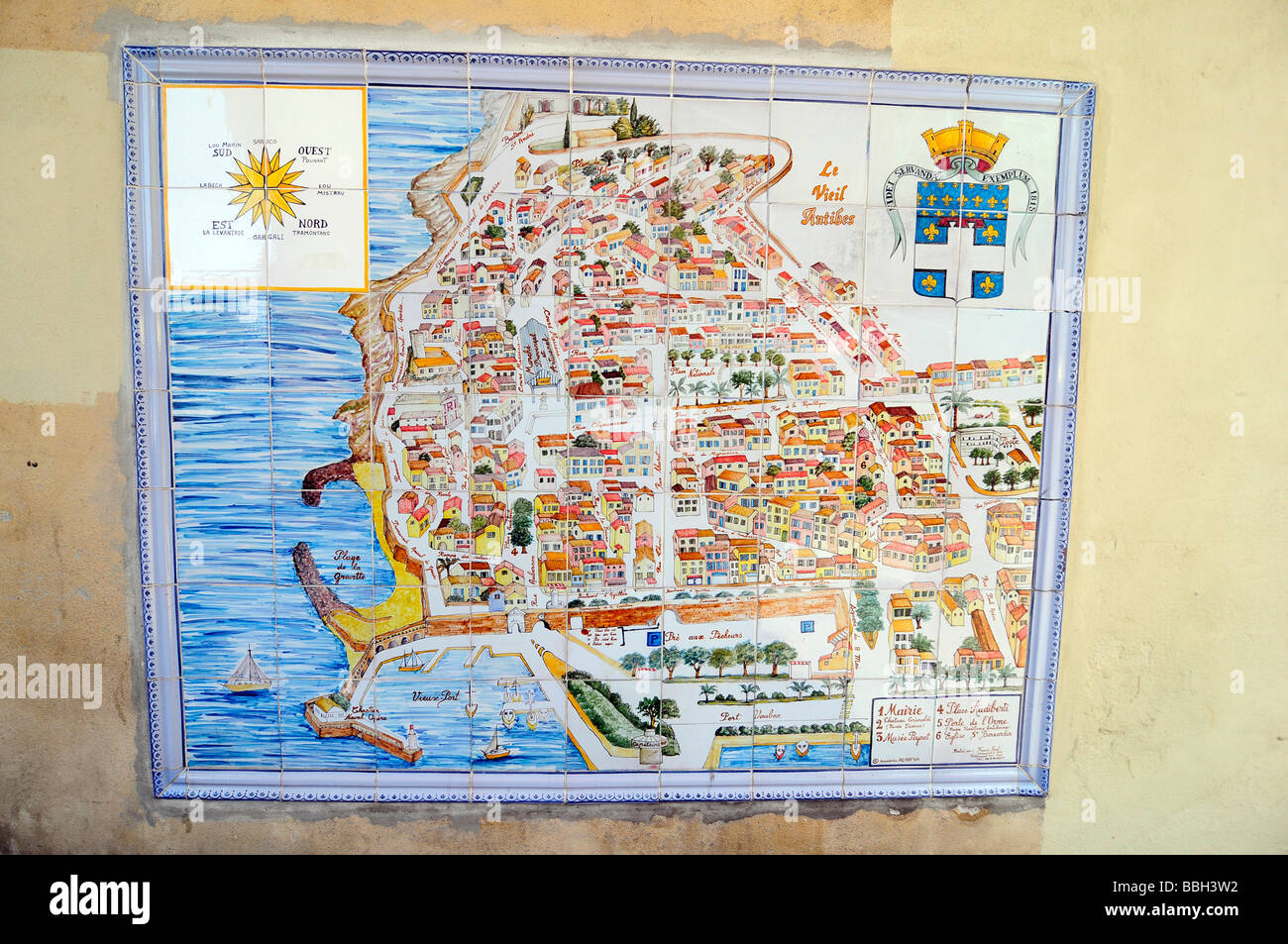 Map of the Antibes old town at the gates of the famous French Stock