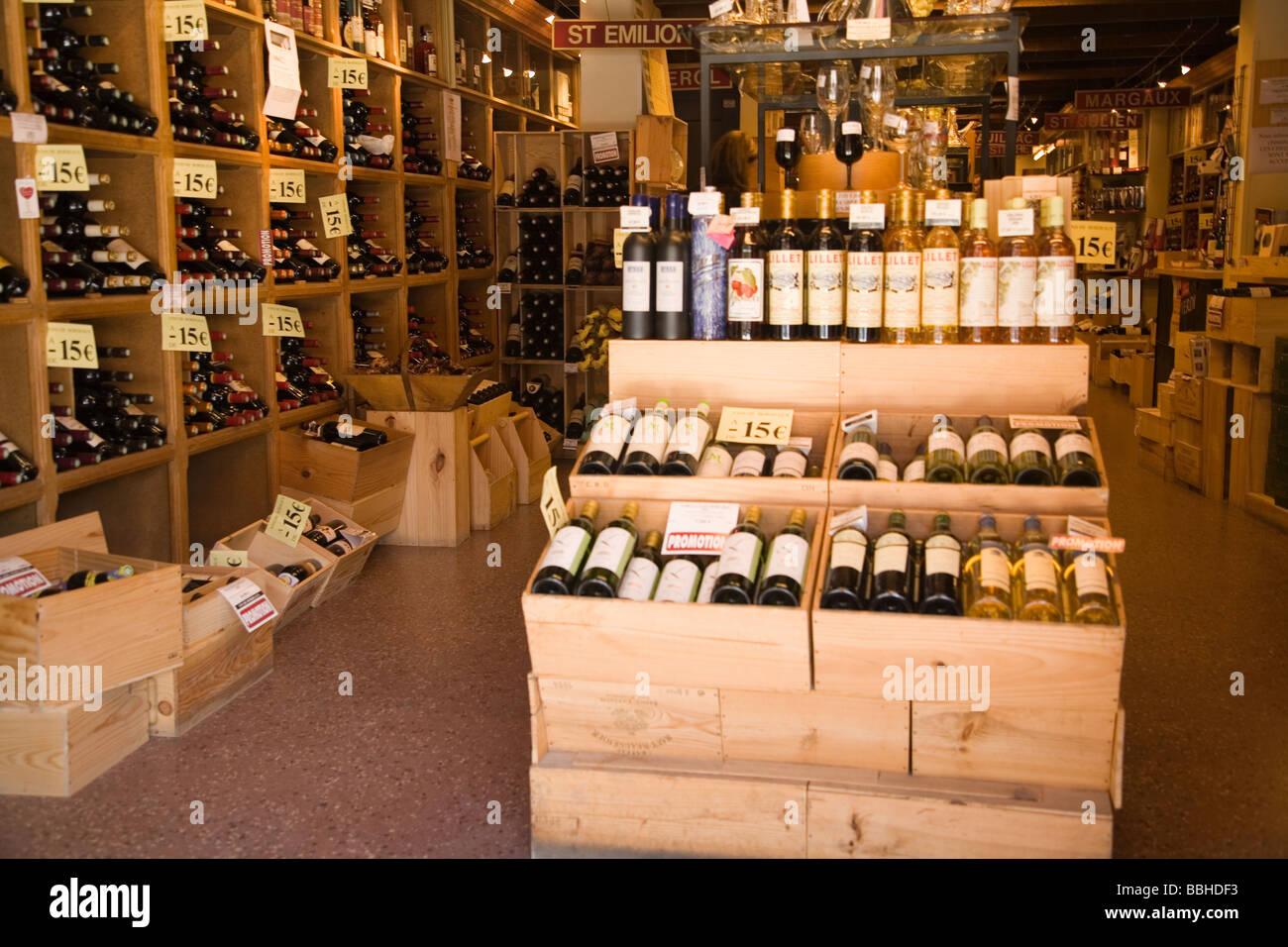 wine shop display in bordeaux france stock photo royalty. Black Bedroom Furniture Sets. Home Design Ideas
