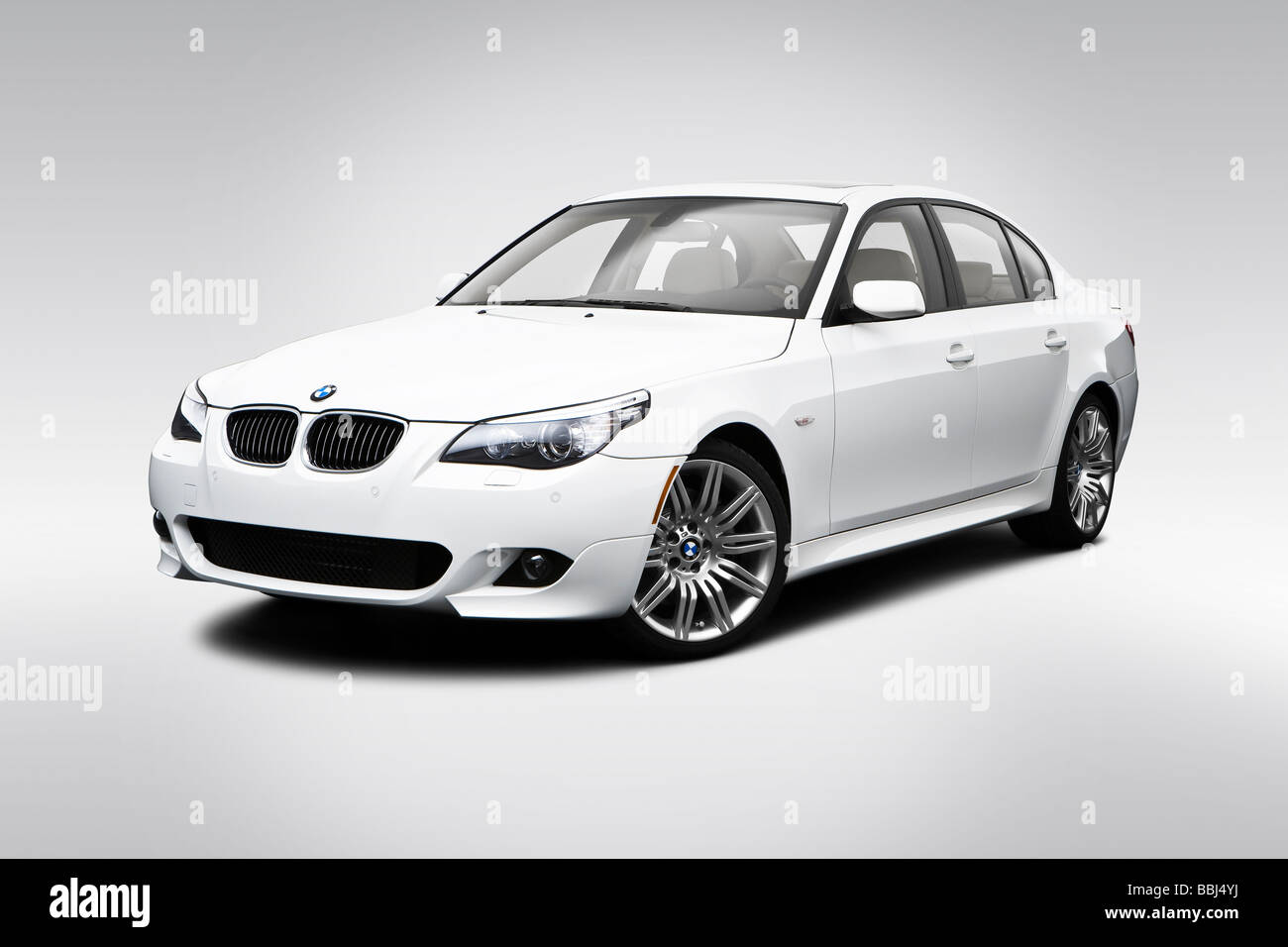2009 bmw 5 series 550i in white front angle view stock. Black Bedroom Furniture Sets. Home Design Ideas