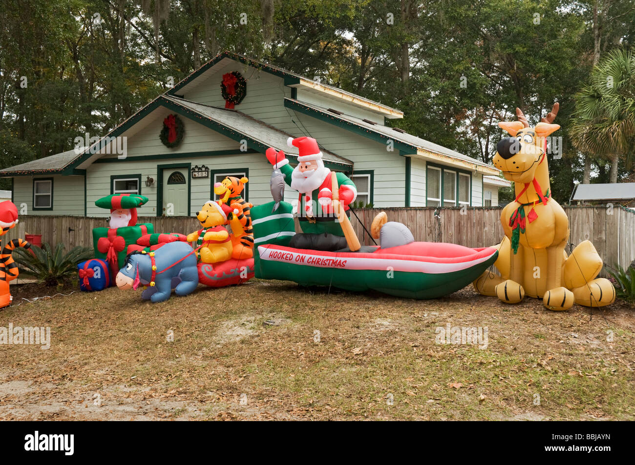 inflatables of cartoon characters at christmas time high springs