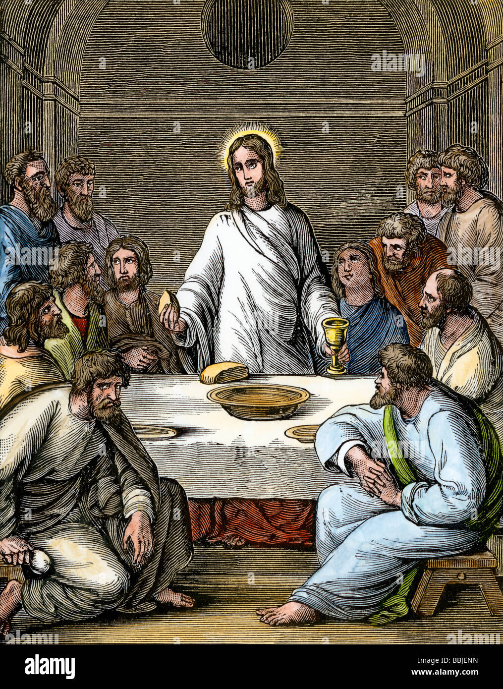jesus breaking bread at the last supper with the apostles stock