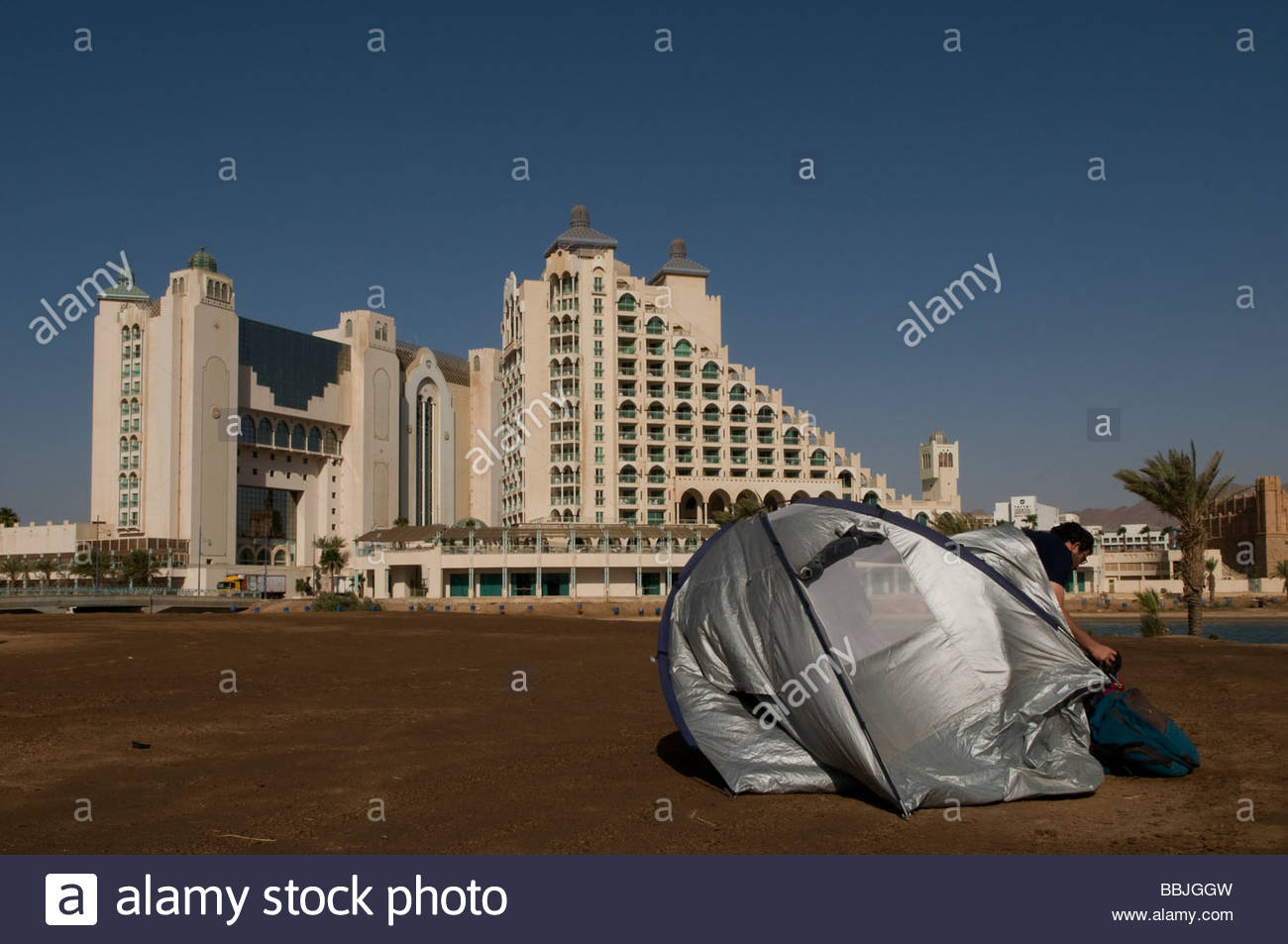 A tent in front of Hotel complex in Eilat seacoast Southern Israel & A tent in front of Hotel complex in Eilat seacoast Southern Israel ...