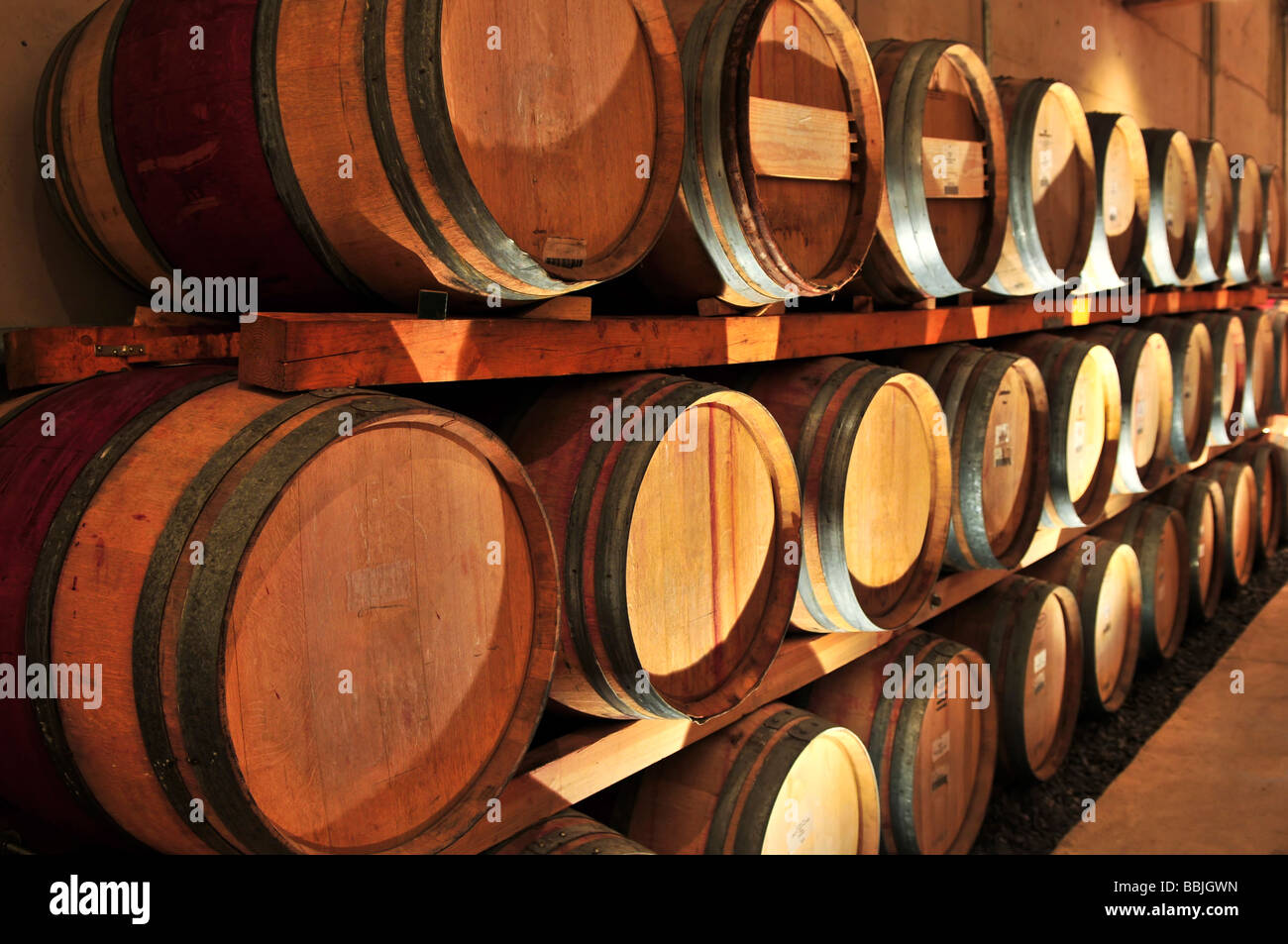 stacked oak wine barrels. Stacked Oak Wine Barrels In Winery Cellar