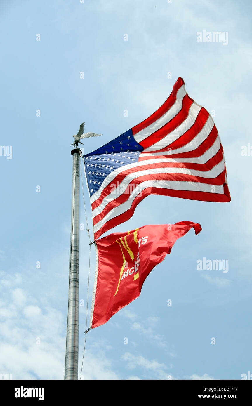 Flagpole with the stars stripes flag above the mcdonalds company flagpole with the stars stripes flag above the mcdonalds company flag flying sciox Image collections