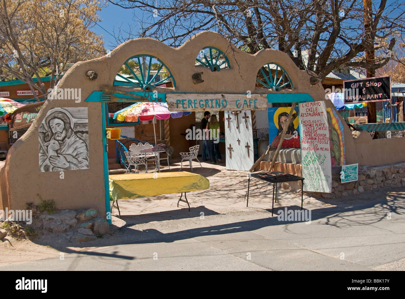 USA New Mexico Chimayo Peregrino Cafe gift shop and Restaurant ...