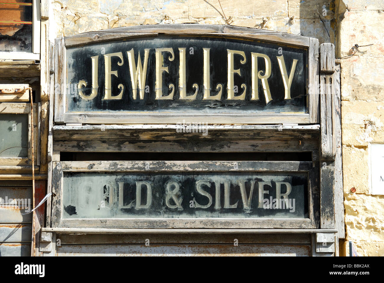 malta an old wooden sign for a jewellery shop on