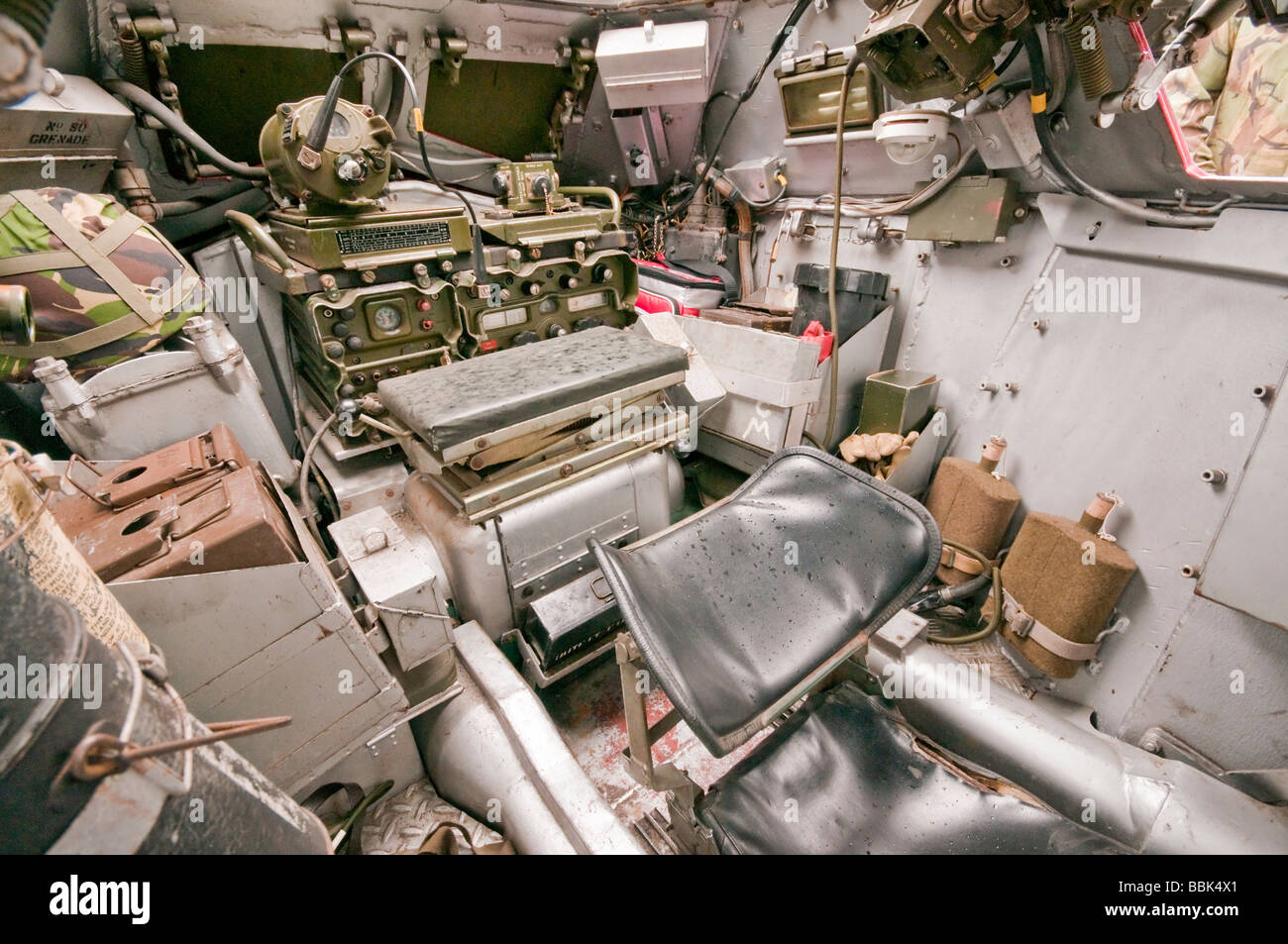 cramped interior of a ferret armoured vehicle facing rear stock photo royalty free image. Black Bedroom Furniture Sets. Home Design Ideas