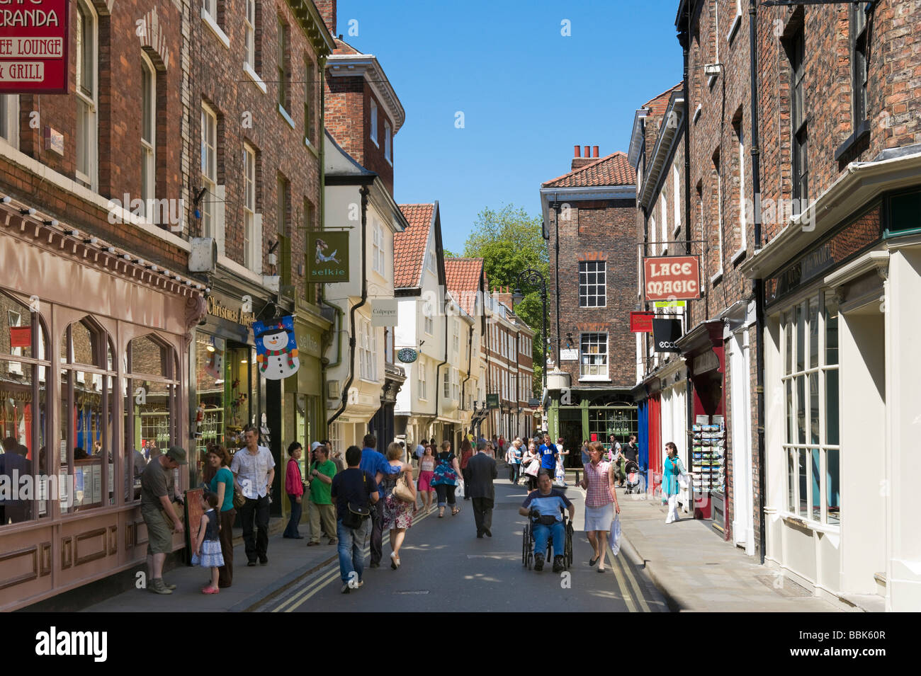 york shops. shops on low petergate in the city centre, york, north yorkshire, england york