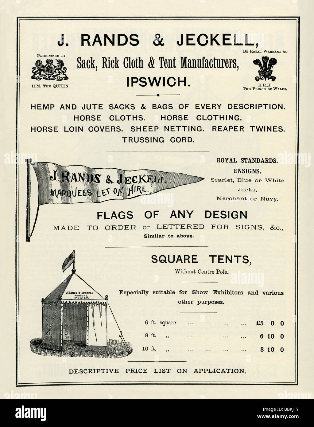 Advertisement in a Victorian mail-order catalogue for tents and flags Rands u0026 Jeckell Ipswich Suffolk  sc 1 st  Alamy & Advertisement in a Victorian mail-order catalogue for tents and ...