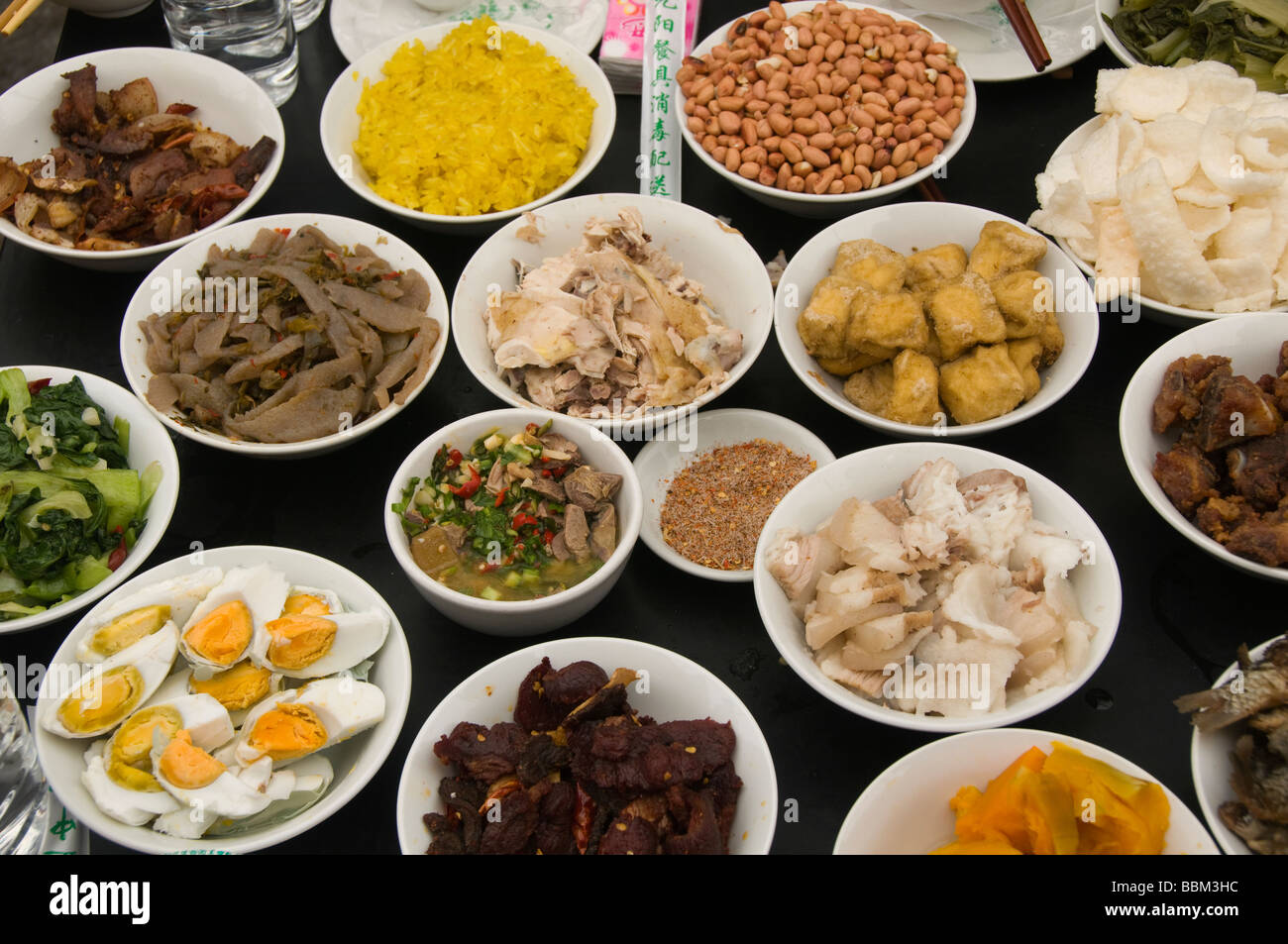 ethnic food at the long table festival in yuanyang china