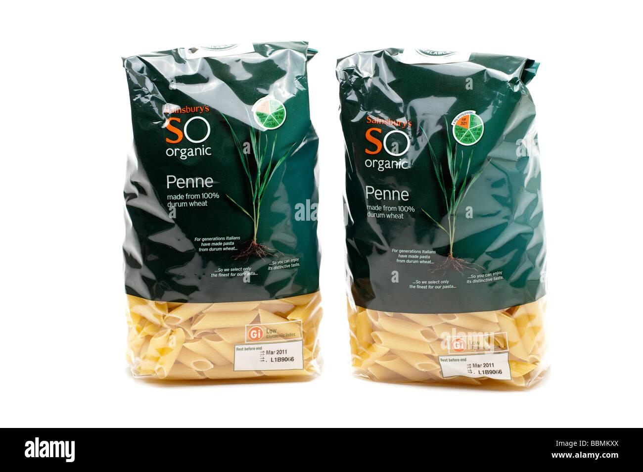 White apron sainsburys - Two Cellophane Bags Of Sainsbury S So Organic Penne Pasta Stock Image