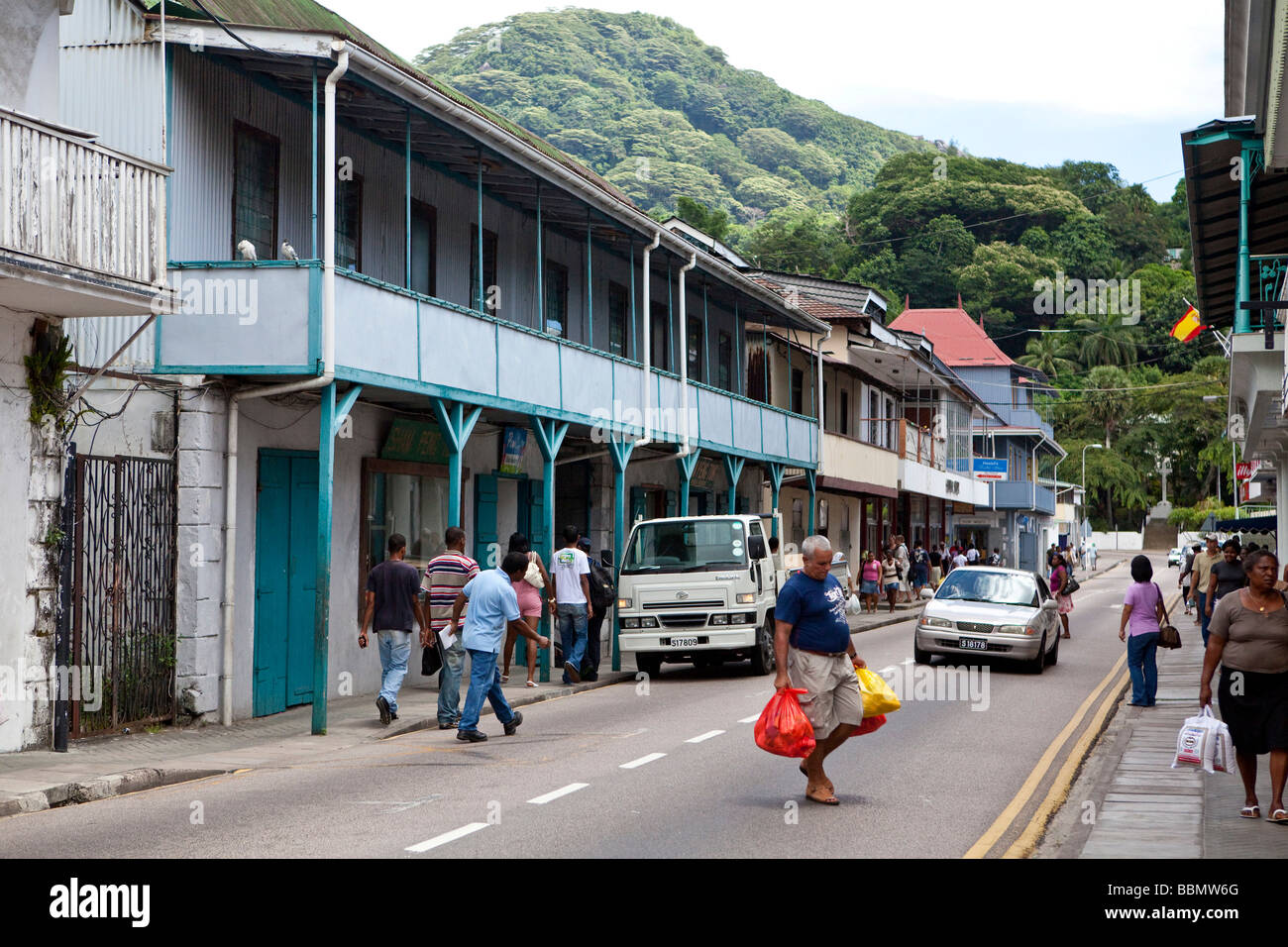 Shops On Independence Avenue Victoria Mahe Island Seychelles - Seychelles victoria map indian ocean
