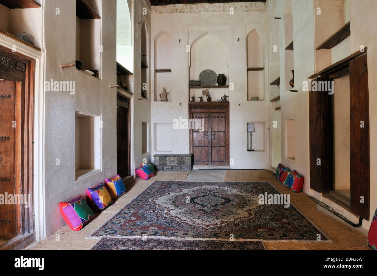 Traditional Arabian Living Room At Jabrin Castle Or Fort, Dakhliyah Region,  Sultanate Of Oman, Arabia, Middle East