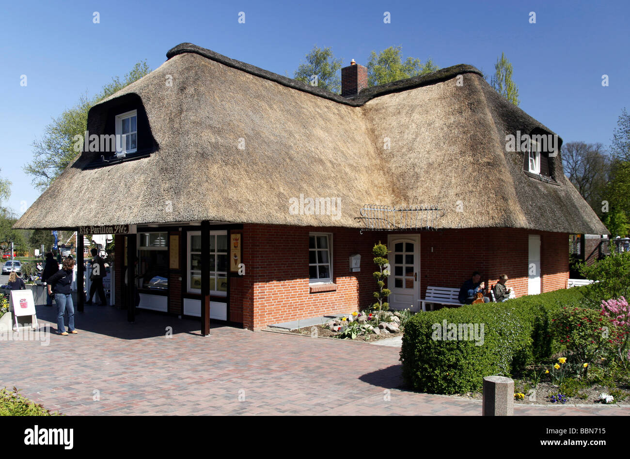 north german thatched roof house ratzeburg schleswig holstein stock photo royalty free image. Black Bedroom Furniture Sets. Home Design Ideas