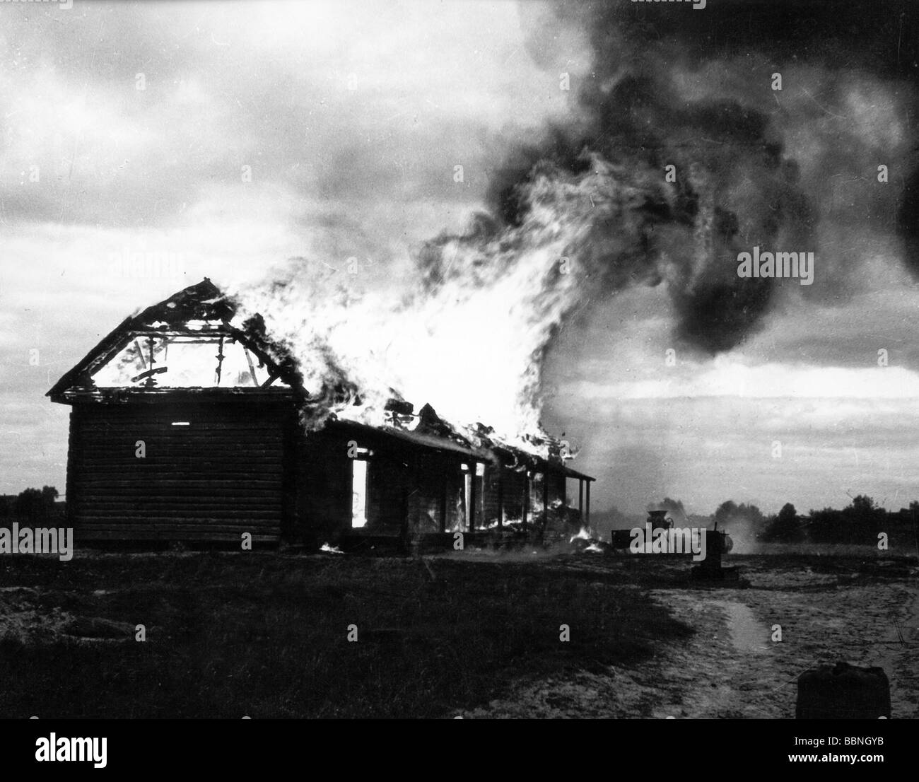 Events Second World War WWII Russia 1942 1943 Burning Farmhouse Circa Fire Destruction 20th Century Historic H