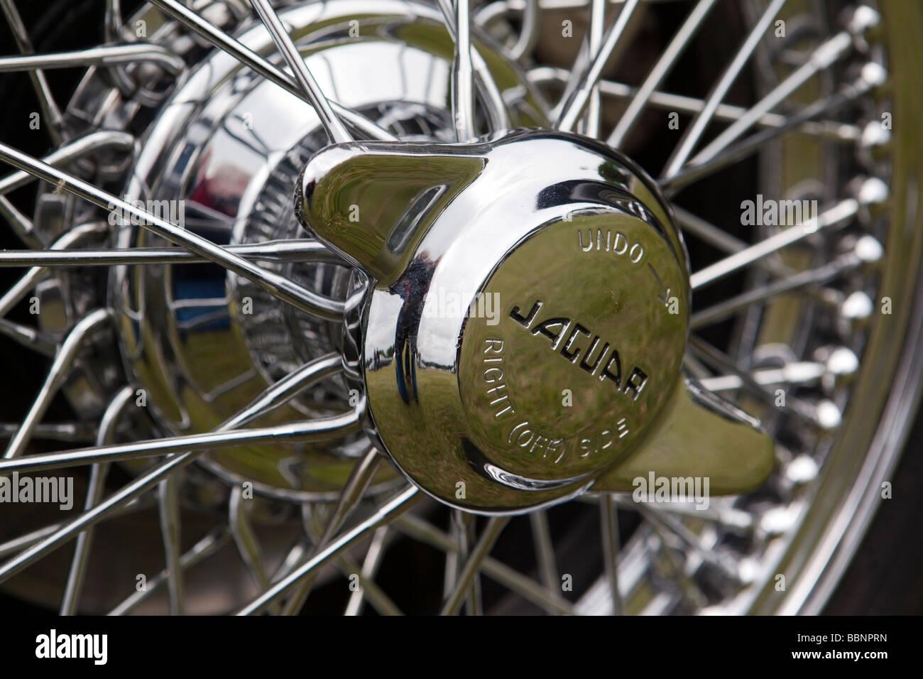 jaguar xk140 stock photos jaguar xk140 stock images alamy motoring chromed wheel spinner on wire wheel of classic 1950s jaguar xk140 sports car stock