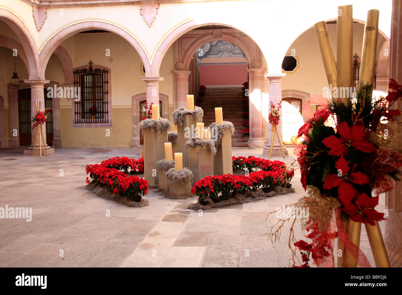 Zacatecas Mexican City Colonial Architecture Christmas Eve Decoration Candels Picturesque Goberment Building Mexico Traveling
