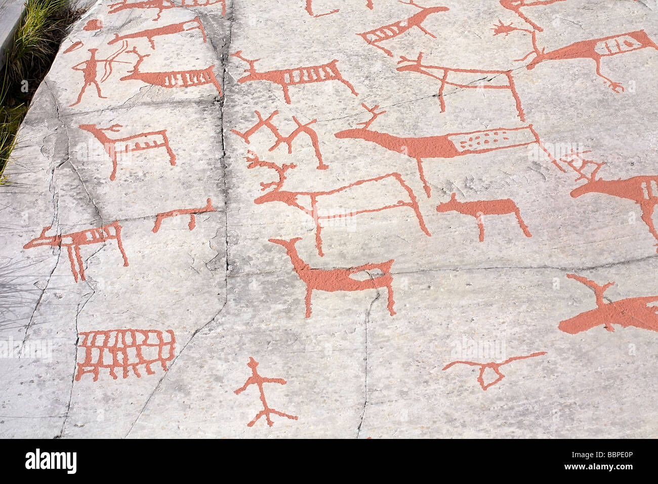 Ancient rock carvings petroglyphs in alta norway stock