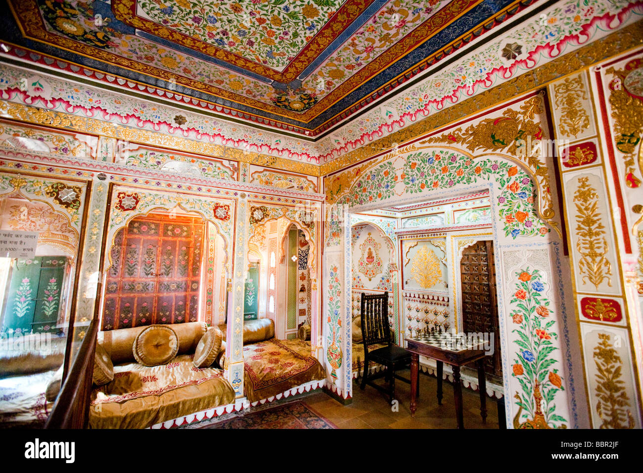 Interior of nathmal ki havelis merchants house jaisalmer