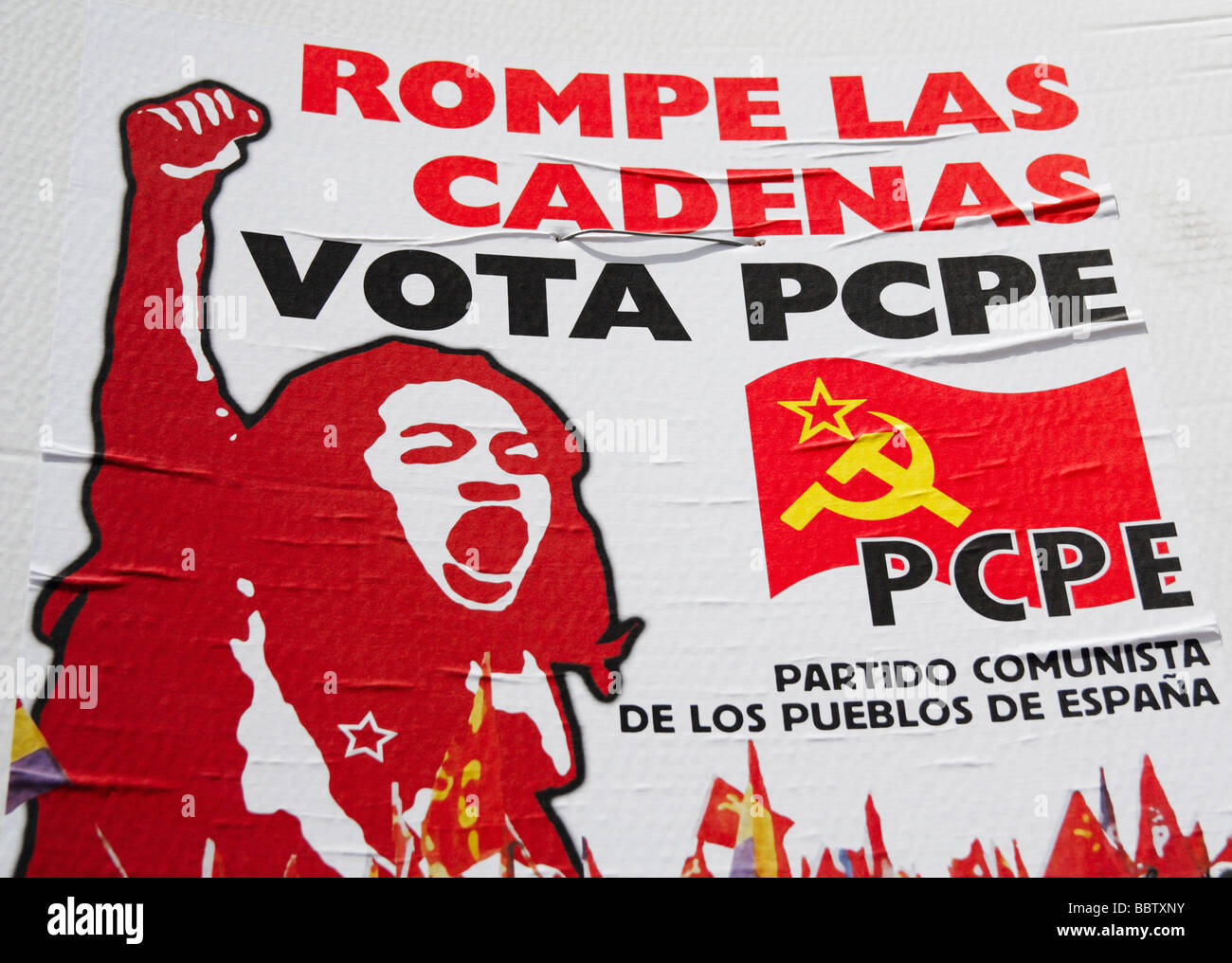 Communist party poster in Spain during elections Stock ...
