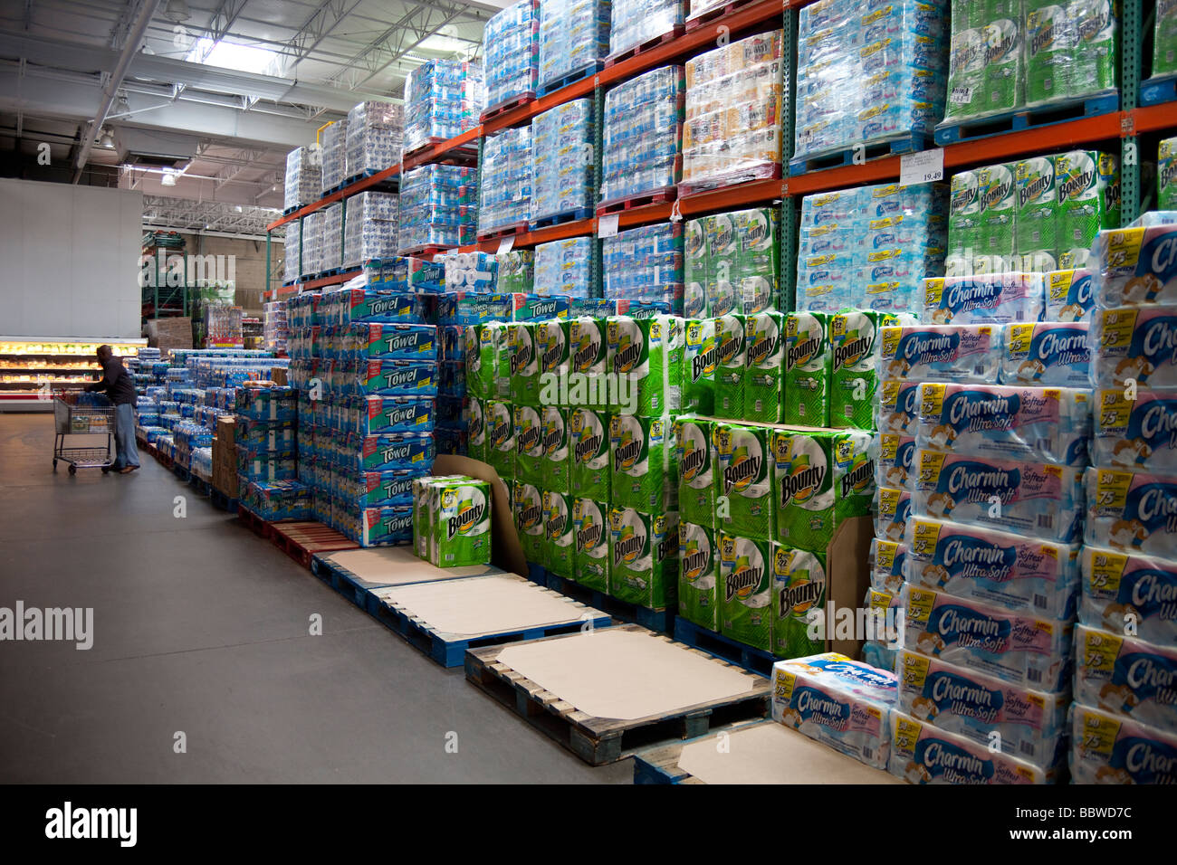Kitchen Towels And Bottled Water Stacks Costco Warehouse