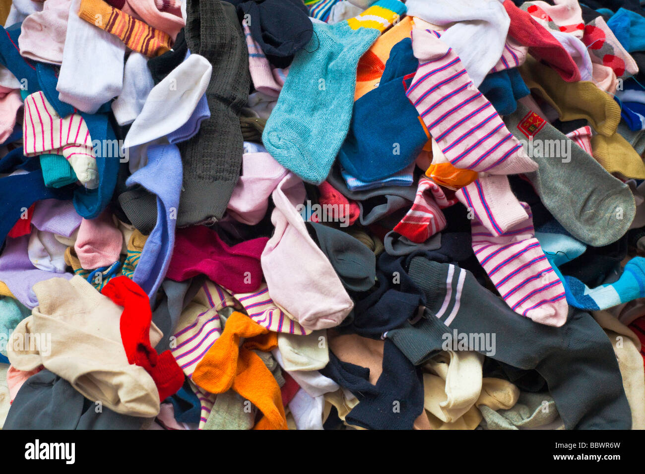 Piles of loose socks at a market, Darjeeling, India Stock ...