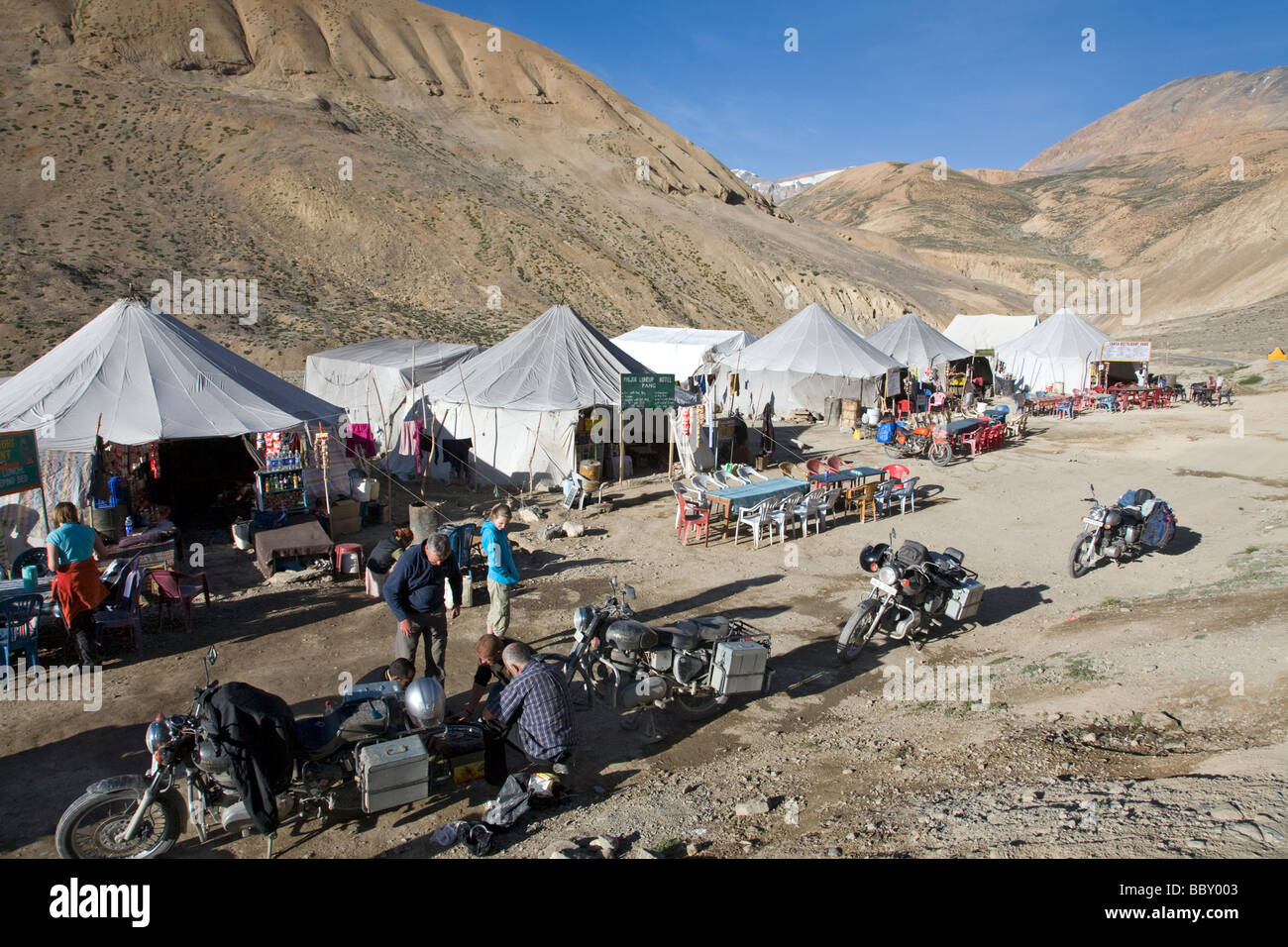 Pang tent village and bikers. Manali Leh road. Ladakh. India - Stock Photo : tent repair service - memphite.com