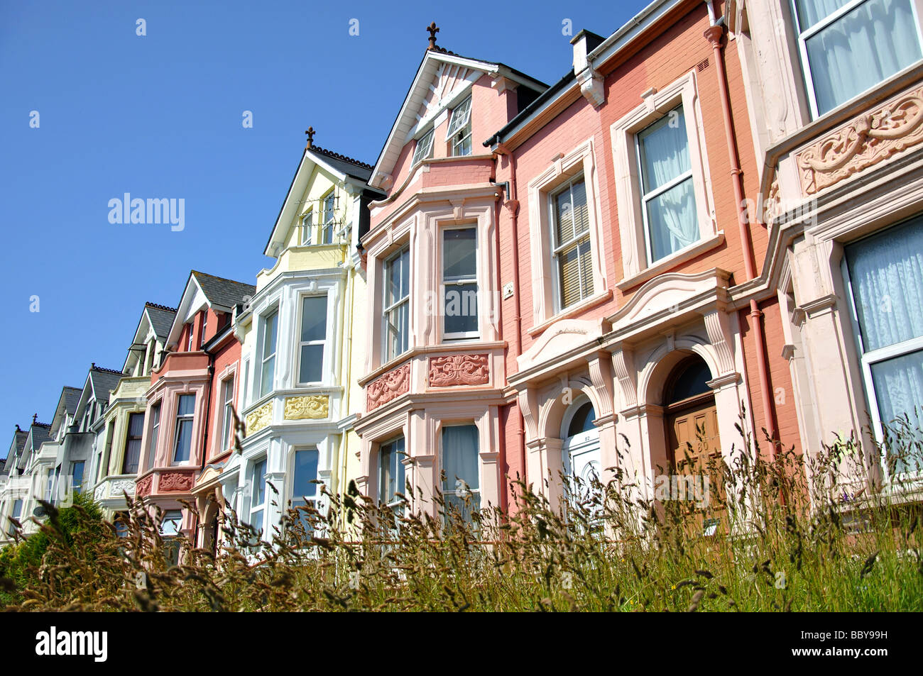 pastel coloured terraced houses wolseley road plymouth