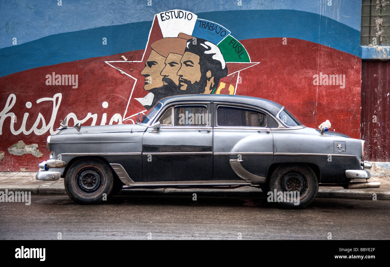 A classic chevy and mural painting stock photo royalty for Classic mural painting
