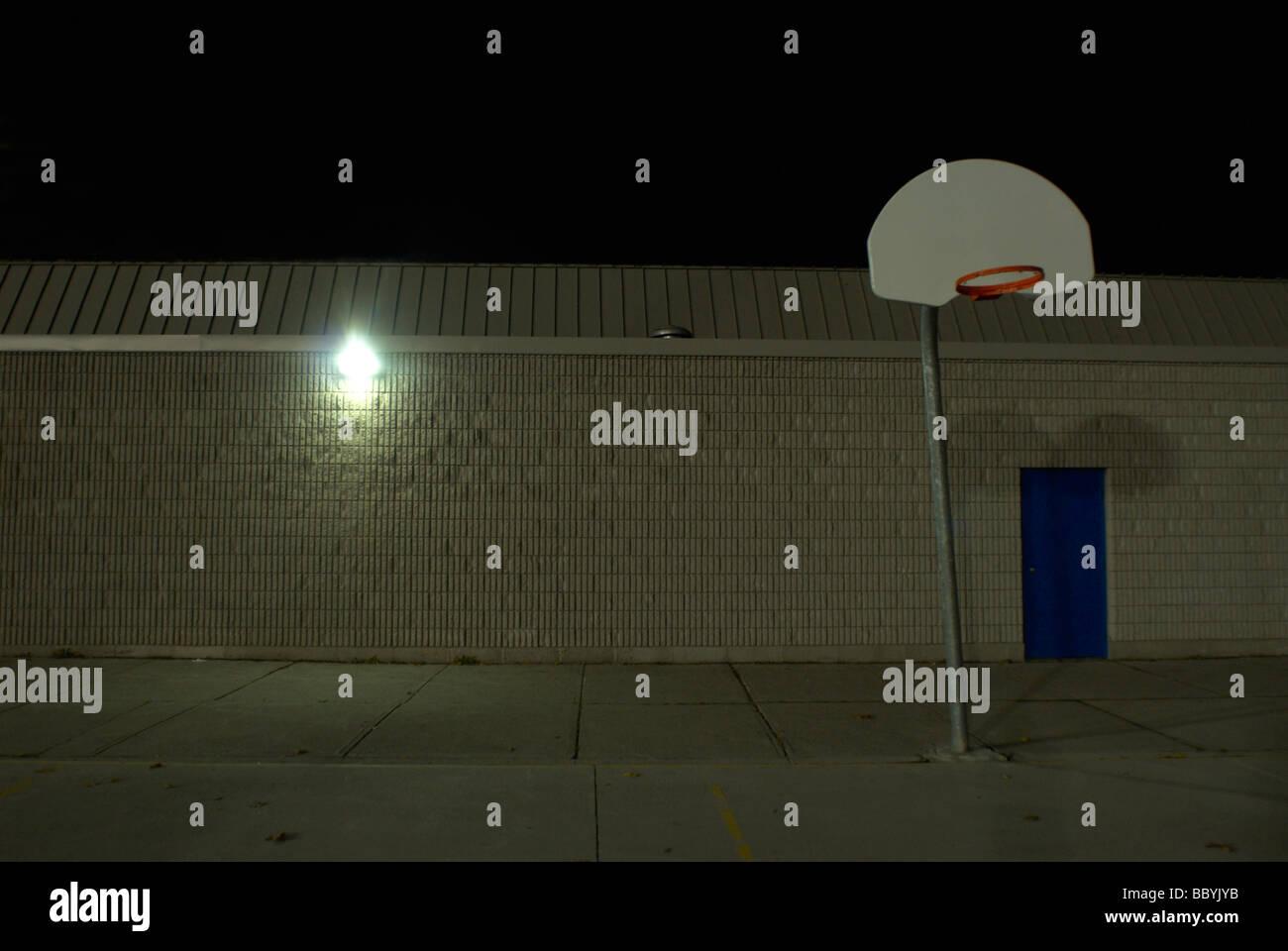 Urban Area At Night Baseball hoop i...