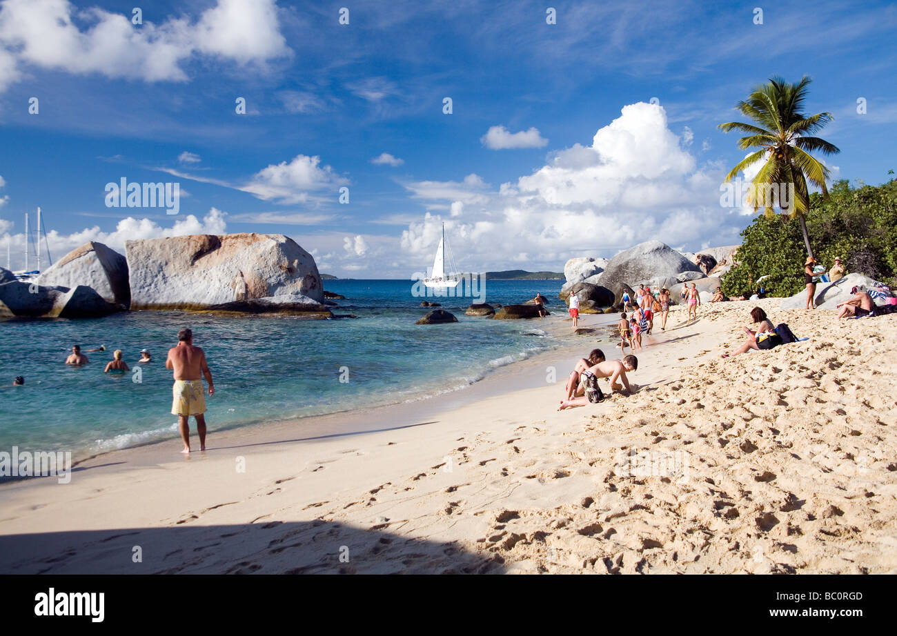 Beach People And Rocks At The Baths On Virgin Gorda British West Indies Caribbean Editorial Use Only