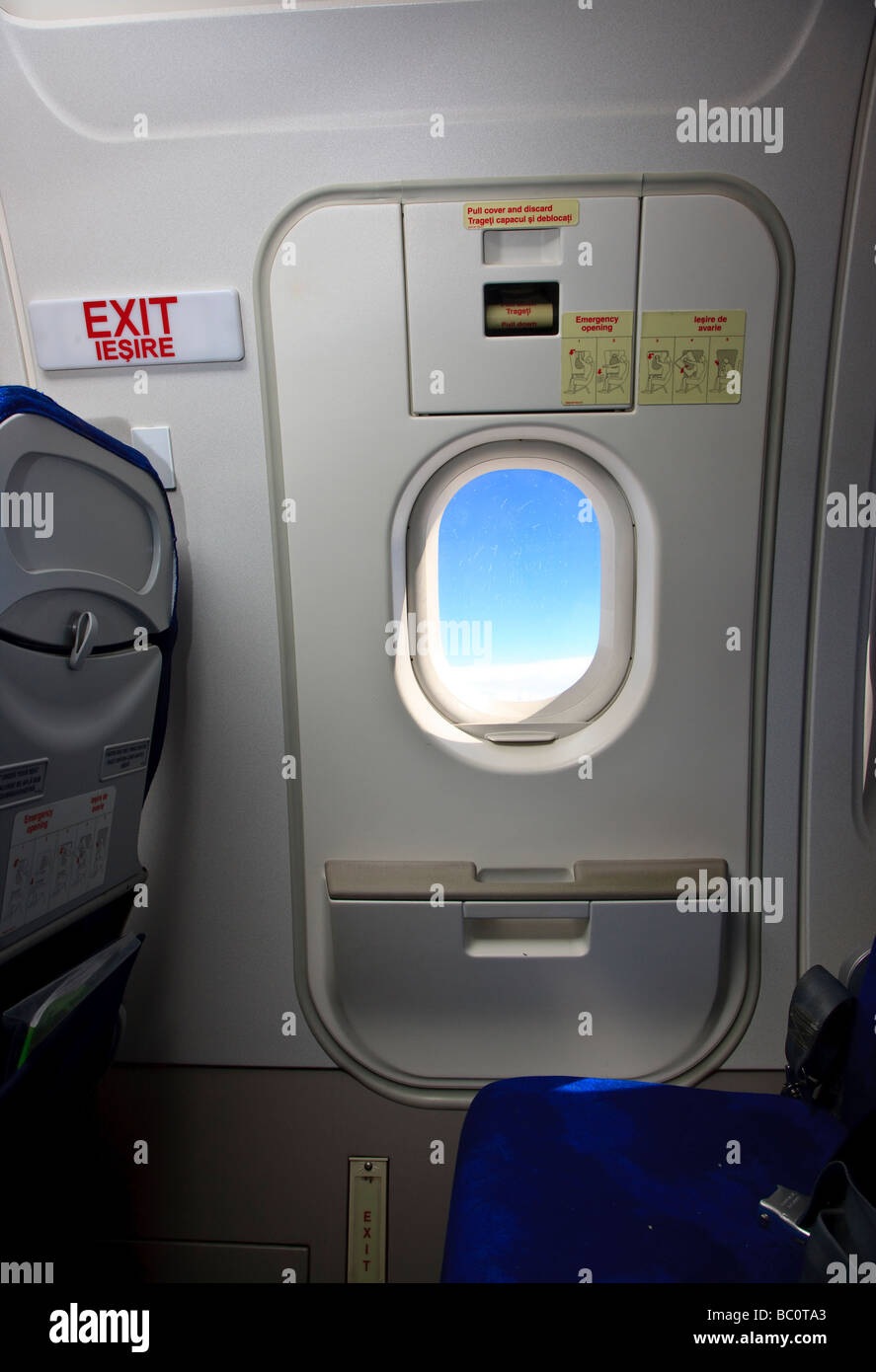Emergency exit door on Airbus airplane of the romanian Tarom air line - Stock Image & Emergency Exit Door Plane Stock Photos \u0026 Emergency Exit Door Plane ... Pezcame.Com