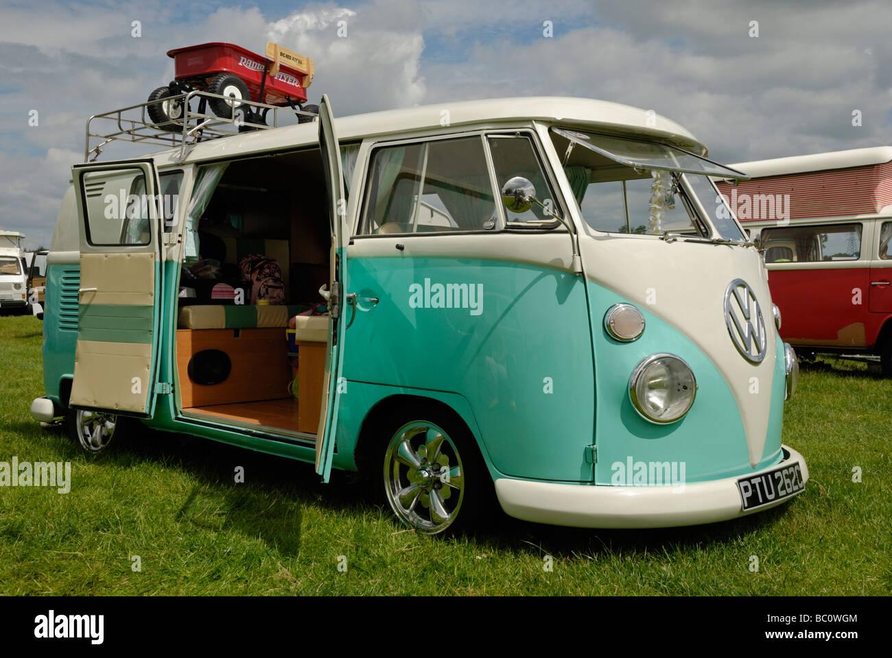 A split screen VW camper van with open 'barn doors'. Wymeswold ...
