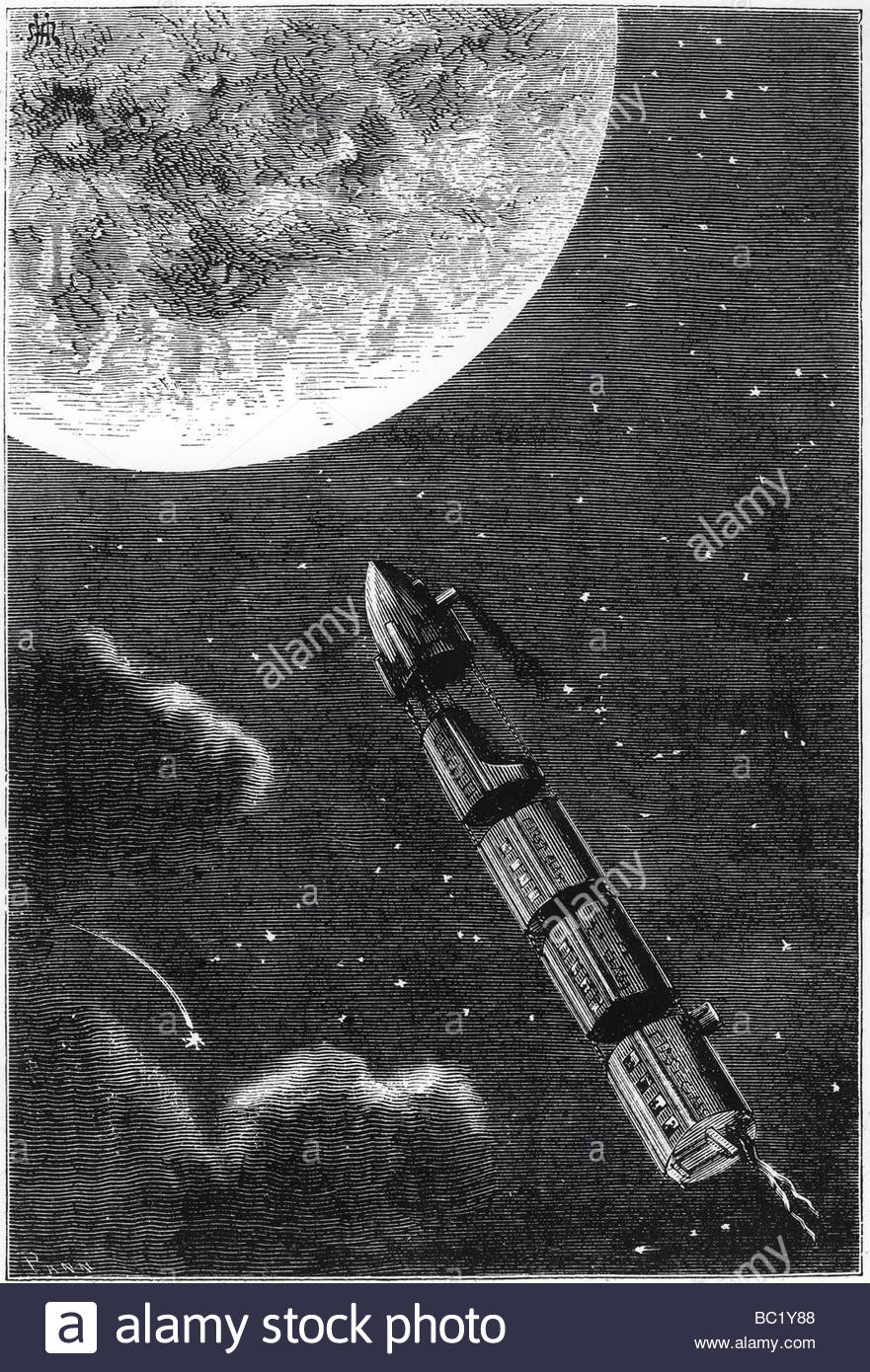 jules verne 1828 1905 de la terre a la lune 1865 a train of space stock photo royalty free. Black Bedroom Furniture Sets. Home Design Ideas