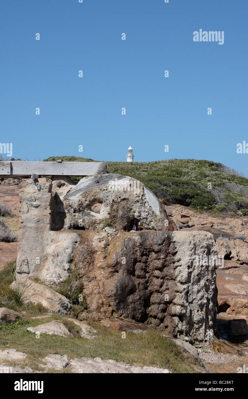 The calcified water wheel at Cape Leeuwin which was used to drive ...
