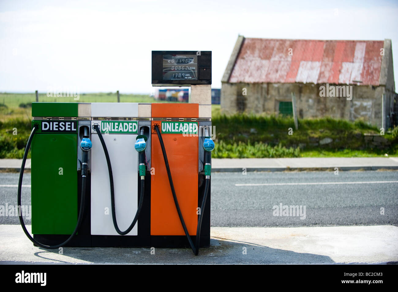 petrol pumps on the belmullet peninsula co mayo ireland painted