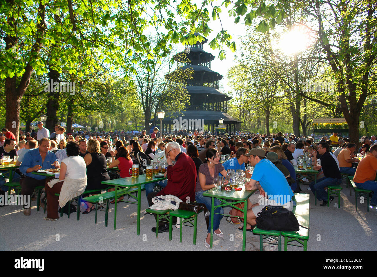 beer garden at chinese tower english garden munich germany stock photo royalty free image. Black Bedroom Furniture Sets. Home Design Ideas