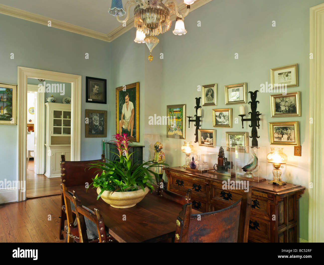 Ernest Hemingway House In Key West Dining Room Stock Photo