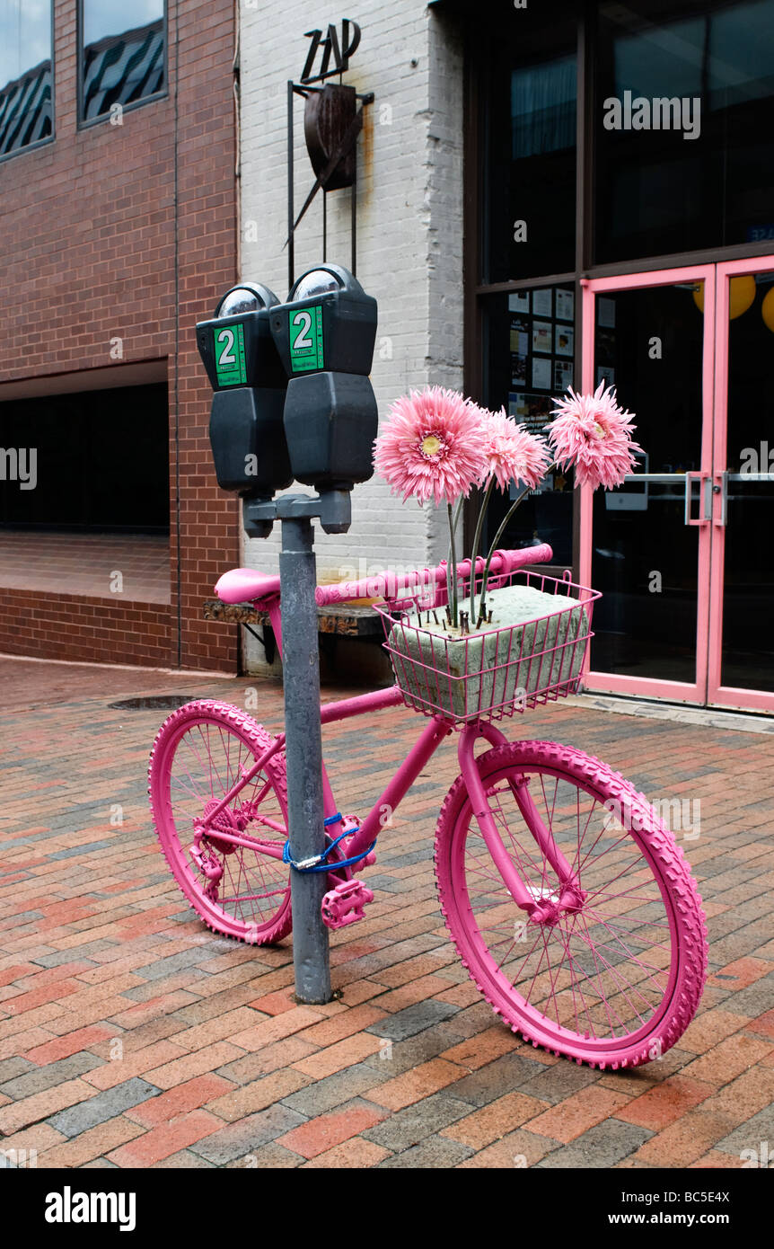 A Pink Bike On The Streets Of Georgetown Washington DC Stock - Washington dc bike lane map